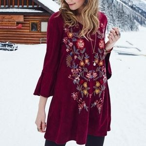 Altar'd State Suede Floral Embroidered Dress